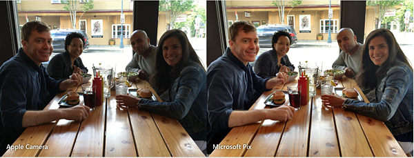 Same shot with Apple Camera (left) and Microsoft Pix (right). Microsoft source.